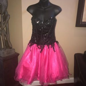 Vintage black and pink Sequin tulle dress SZ SMALL